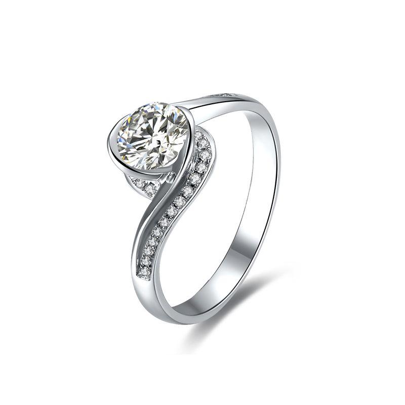 Bague solitaire or blanc, diamants 0.42ct - Baudelaire, A une Madone